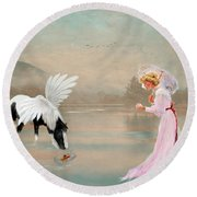 Round Beach Towel featuring the photograph A Lady With Her Fantasy by Mary Timman