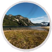 A Lake In The Mountains Round Beach Towel