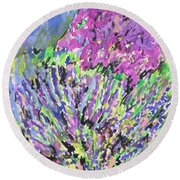 A Lavender Floral Round Beach Towel by Esther Newman-Cohen
