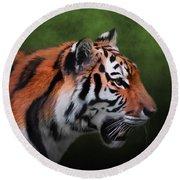 A Leader - Siberian Tiger Art  Round Beach Towel