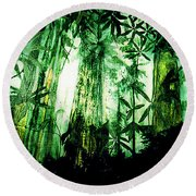 A Light In The Forest Round Beach Towel by Seth Weaver