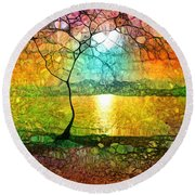 A Light Like Love Round Beach Towel