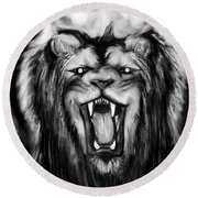 A Lion's Royalty B/w Round Beach Towel