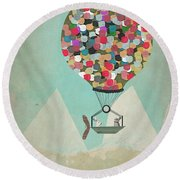 Round Beach Towel featuring the painting A Little Adventure by Bri B