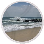 A Little April Drama Round Beach Towel