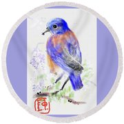 A Little Bird In Blue Round Beach Towel