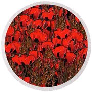 A Little Family Gathering Of Poppies Round Beach Towel