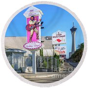 A Little White Chapel From The North 2 To 1 Ratio Round Beach Towel by Aloha Art
