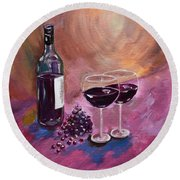 A Little Wine On My Canvas - Wine - Grapes Round Beach Towel