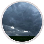 Alone In The Face Of The Storm Round Beach Towel by Arik Baltinester