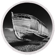 A Lonely Boat Round Beach Towel
