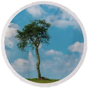 Round Beach Towel featuring the photograph A Lonely Tree On A Hill by Guy Whiteley