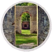 A Look Through Chapel Of Ease St. Helena Island Beaufort Sc Round Beach Towel