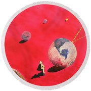 A Lot To Think About Round Beach Towel by Thomas Blood