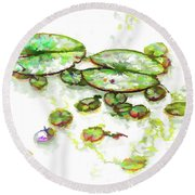 Round Beach Towel featuring the painting A Lotus Leaf by Lanjee Chee
