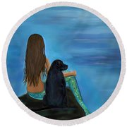 Round Beach Towel featuring the painting A Loyal Buddy by Leslie Allen