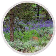 A Lupine Carpet Round Beach Towel by Jim Garrison