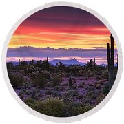 A Magical Desert Morning  Round Beach Towel