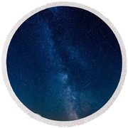 Round Beach Towel featuring the photograph A Magical Night At The Earth Station by Hannes Cmarits