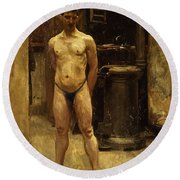 A Male Model Standing Before A Stove John Singer Sargent Round Beach Towel
