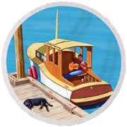 A Man, A Dog And An Old Boat Round Beach Towel