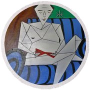 A Man With A Red Stiletto  Round Beach Towel by Tamara Savchenko