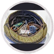 Round Beach Towel featuring the photograph A Man's Items by Walt Foegelle