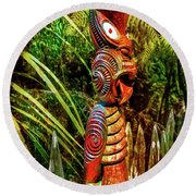 A Maori God In New Zealand Round Beach Towel