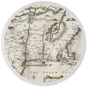 A Map Of New England And New York Round Beach Towel