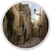 A Marble Staircase To Nowhere - Tiny Italian Lane In Syracuse Sicily Round Beach Towel