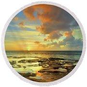 Round Beach Towel featuring the photograph A Marmalade Sky In Molokai by Tara Turner