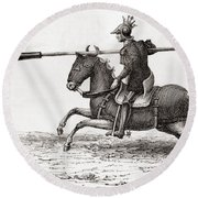 A Medieval Knight Carrying A Fire Lance Round Beach Towel