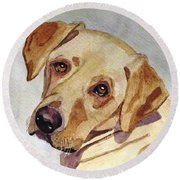 A Mellow Yellow Round Beach Towel by Angela Davies