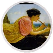 A Melody  Round Beach Towel by John William Godward