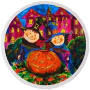 A Merry Halloween Round Beach Towel