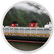 A Mickey Mouse Cruise Ship Round Beach Towel
