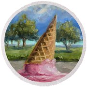 Round Beach Towel featuring the painting A Mid Summer Tragedy by Billie Colson