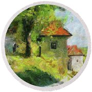 A Mighty Linden Tree At The Castle Round Beach Towel by Dragica Micki Fortunaa m