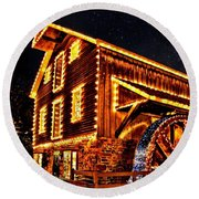 A Mill In Lights Round Beach Towel