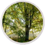 A Misty Fall Morning Round Beach Towel