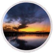 A Misty Sunset On Lake Lanier Round Beach Towel