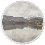 Round Beach Towel featuring the photograph A Misty Ullswater by RKAB Works