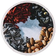 A Mix Of Different Healthy Snacks. Superfoods. Round Beach Towel