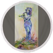 Round Beach Towel featuring the painting A Moment In Time by Mary Haley-Rocks