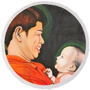 A Moment With Dad Round Beach Towel by Cyril Maza