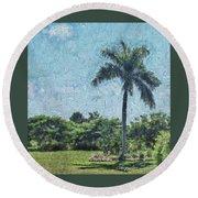 A Monet Palm Round Beach Towel