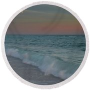 A Moonlit Evening On The Beach Round Beach Towel