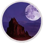 A Moonlit Shiprock, New Mexico, Usa, At Night Round Beach Towel