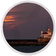 A Moonsetting Sunrise Round Beach Towel by Everet Regal