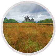 A Moorland Castle Round Beach Towel